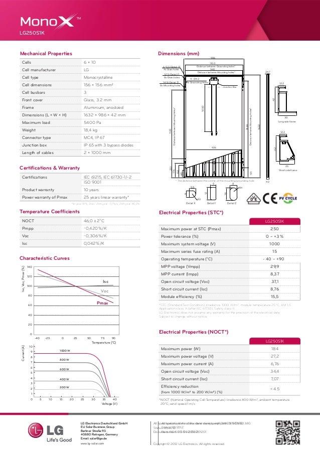 Lg Solar Panels Datasheet Lg250 S1k Black Black