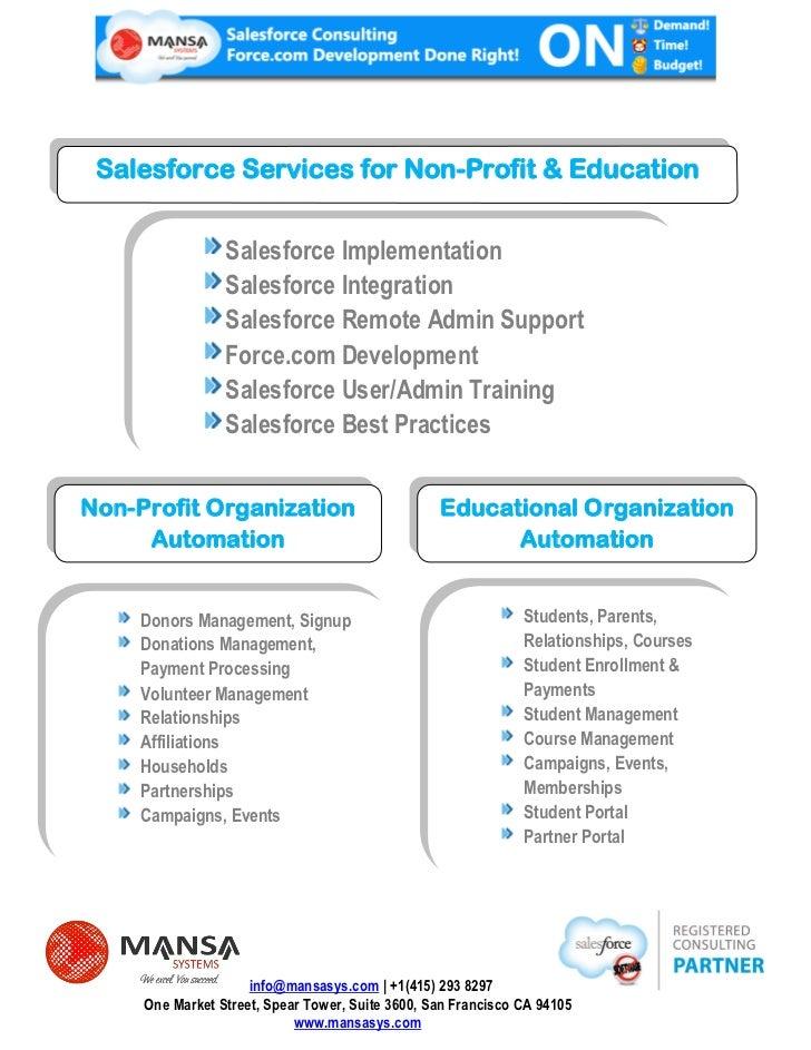 Salesforce Services for Non-Profit & Education                   Salesforce Implementation                   Salesforce In...