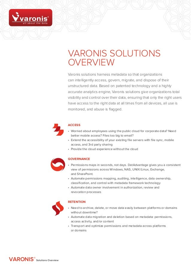 Varonis SOLUTIONS                              OVERVIEW                              Varonis solutions harness metadata so...