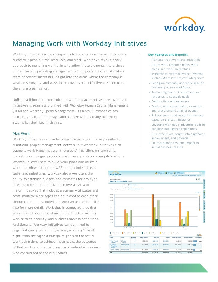 Managing Work with Workday InitiativesWorkday Initiatives allows companies to focus on what makes a company      Key Featu...