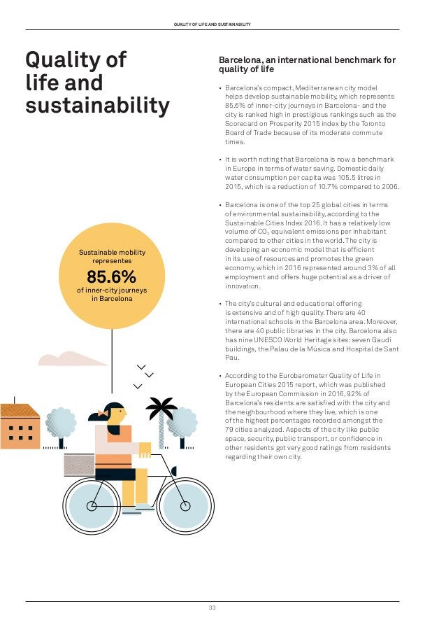 33 Quality of life and sustainability Barcelona, an international benchmark for quality of life • Barcelona's compact, Me...