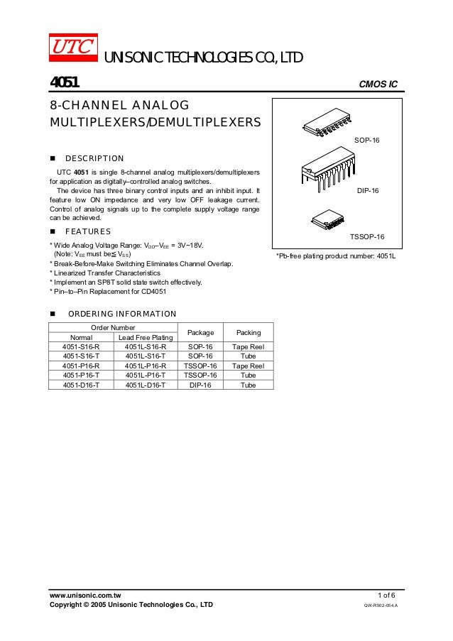 UNISONIC TECHNOLOGIES CO., LTD4051                                                                                        ...