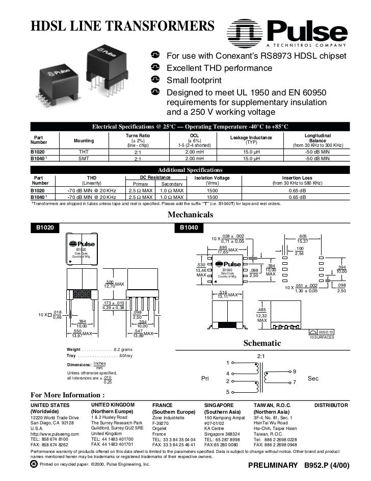 HDSL LINE TRANSFORMERS                                                                                     For use with Co...