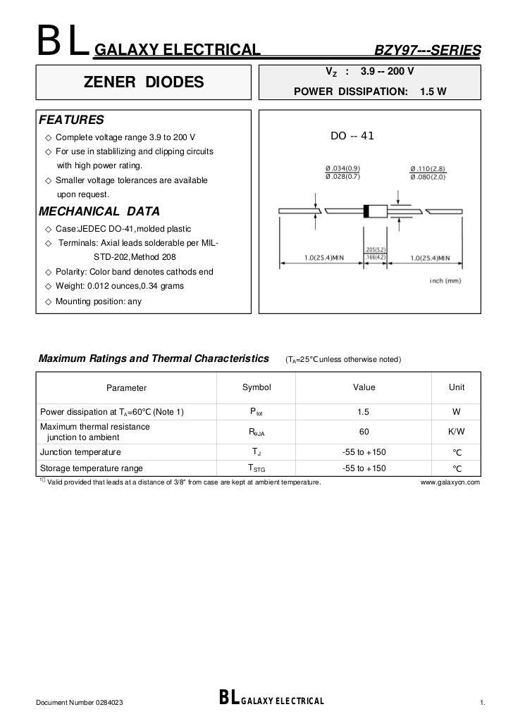 Bzy97c15 15 Volt 1.5 W DO-41