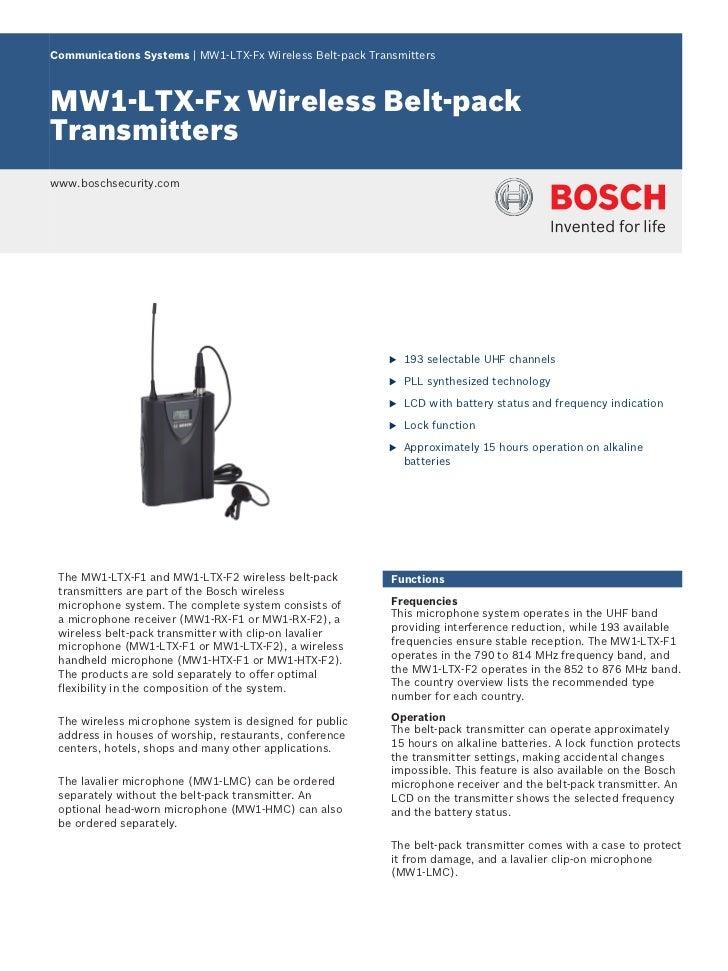 Communications Systems | MW1‑LTX‑Fx Wireless Belt-pack TransmittersMW1‑LTX‑Fx Wireless Belt-packTransmitterswww.boschsecur...