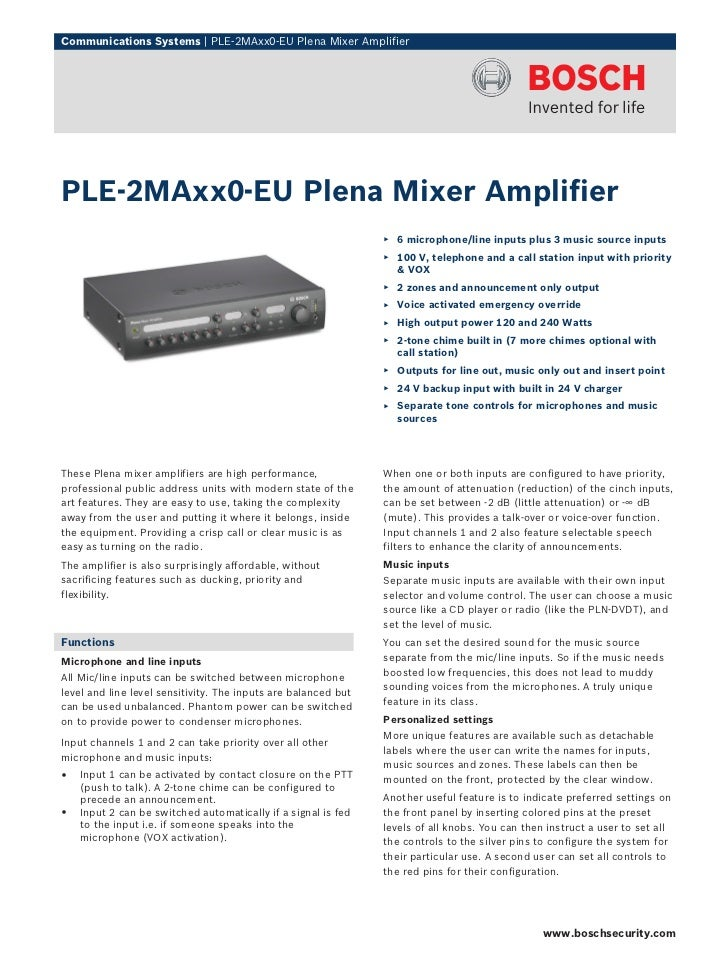 Communications Systems   PLE‑2MAxx0‑EU Plena Mixer AmplifierPLE‑2MAxx0‑EU Plena Mixer Amplifier                           ...