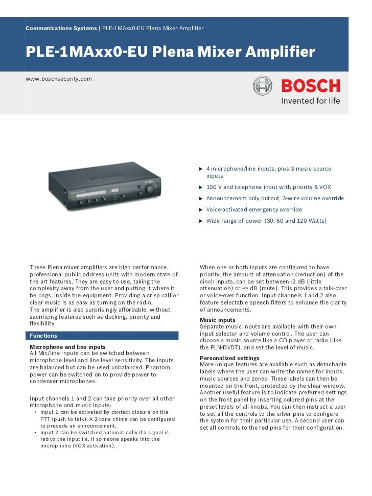 Communications Systems | PLE‑1MAxx0‑EU Plena Mixer AmplifierPLE‑1MAxx0‑EU Plena Mixer Amplifierwww.boschsecurity.com      ...