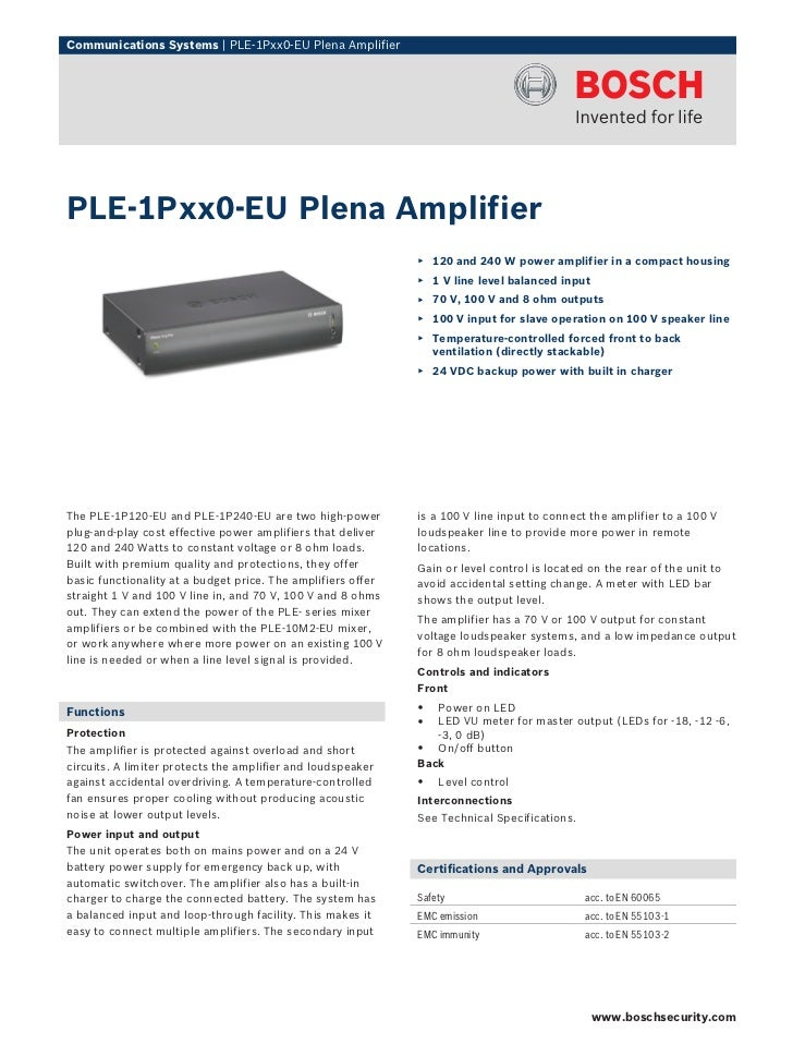 Communications Systems | PLE‑1Pxx0‑EU Plena AmplifierPLE‑1Pxx0‑EU Plena Amplifier                                         ...