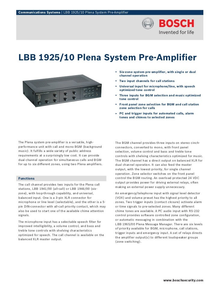 Communications Systems   LBB 1925/10 Plena System Pre-AmplifierLBB 1925/10 Plena System Pre-Amplifier                     ...