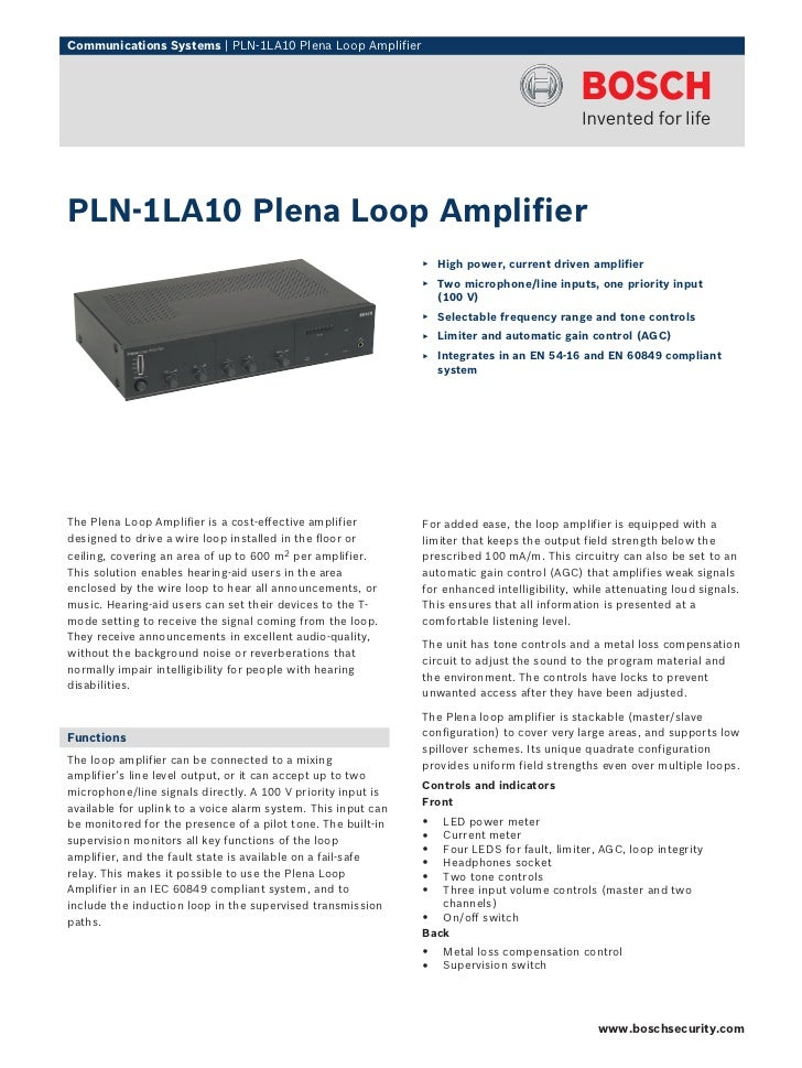 Communications Systems | PLN‑1LA10 Plena Loop AmplifierPLN‑1LA10 Plena Loop Amplifier                                     ...