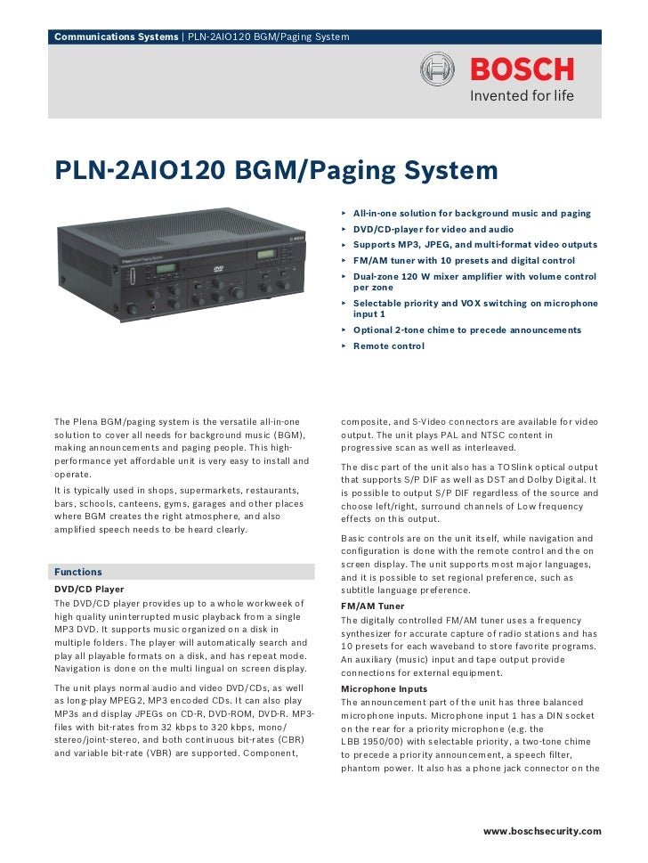 Communications Systems | PLN‑2AIO120 BGM/Paging SystemPLN‑2AIO120 BGM/Paging System                                       ...