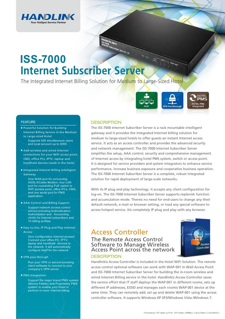 ISS-7000The Integrated Internet Billing Solution for Medium to Large-Sized Hotel Powerful Solution for Building           ...