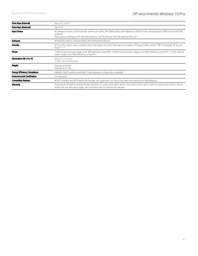 HP Z8 G4 Workstation spec sheet (PDF)