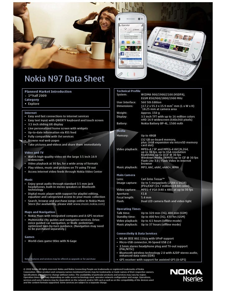 Nokia N97 Data Sheet  Planned Market Introduction                                                             Technical Pr...
