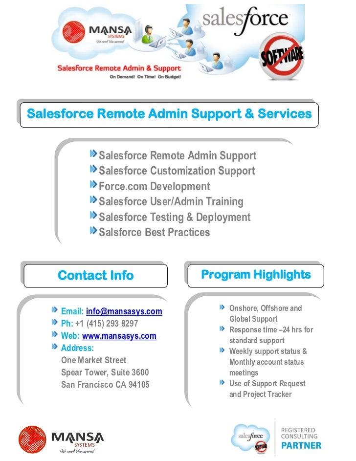 Salesforce Remote Admin Support & Services             Salesforce Remote Admin Support             Salesforce Customizatio...