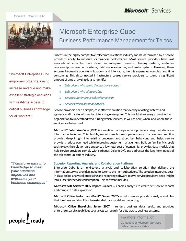 Microsoft Enterprise Cube<br />For more informationContact your Microsoft Services Sales Executive today.49530008107680Suc...