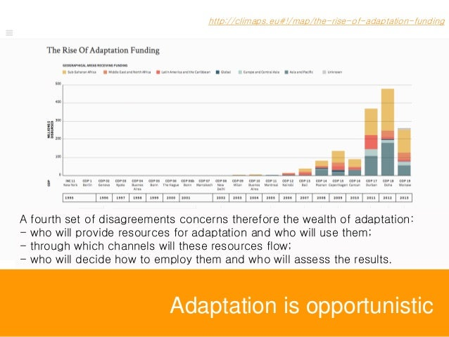 Adaptation is opportunistic http://climaps.eu#!/map/the-rise-of-adaptation-funding A fourth set of disagreements concerns ...