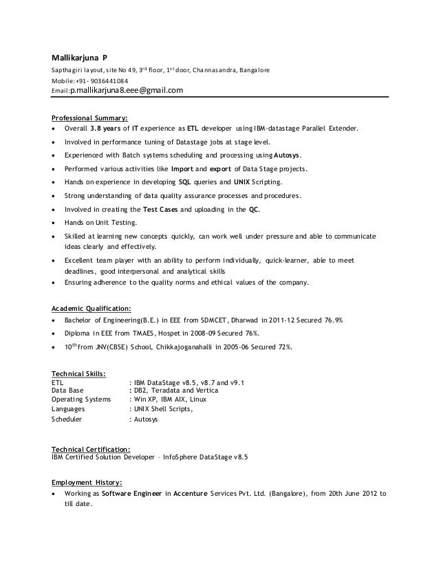 Datastage Developer Resume