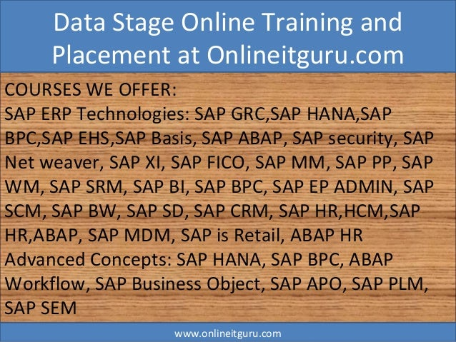 Data Stage Online Training And Placement Assistance