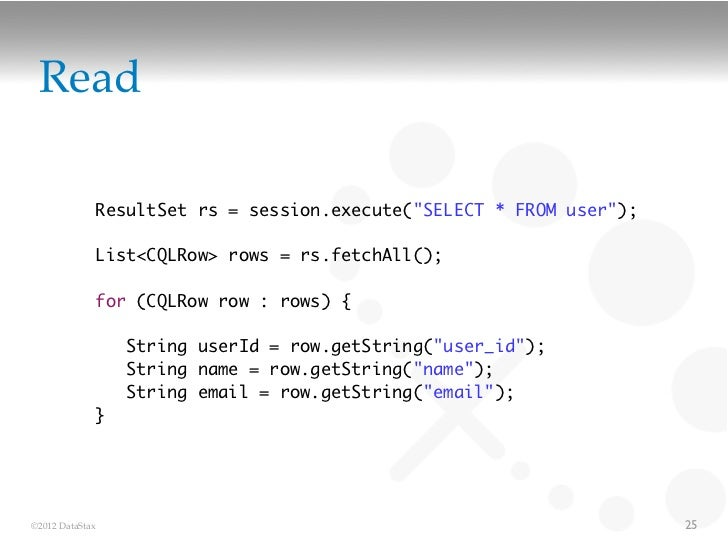 """Read             ResultSet rs = session.execute(""""SELECT * FROM user"""");             List<CQLRow> rows = rs.fetchAll();     ..."""