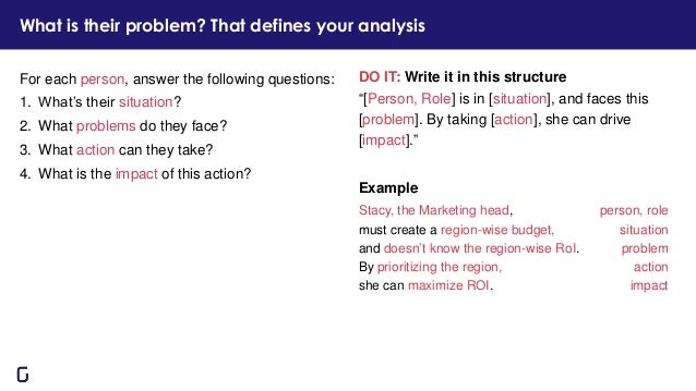 """DO IT: Write it in this structure """"[Person, Role] is in [situation], and faces this [problem]. By taking [action], she can..."""