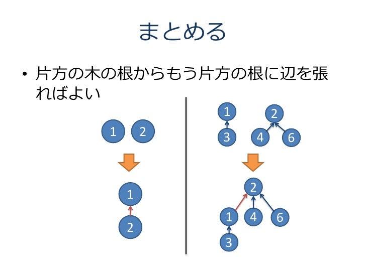 まとめる • 片方の木の根からもう片方の根に辺を張   ればよい                  1       2      1       2   3   4       6                        2       ...