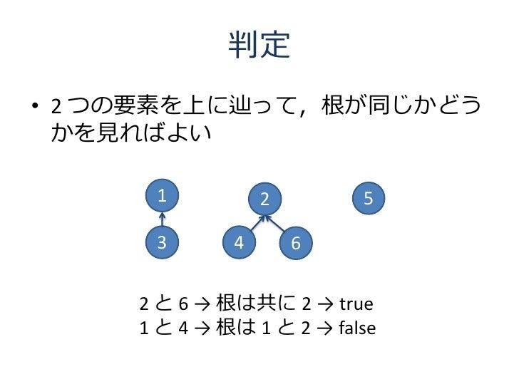 判定 • 2 つの要素を上に辿って,根が同じかどう   かを見ればよい        1           2        5        3       4       6        2 と 6 → 根は共に 2 → true   ...