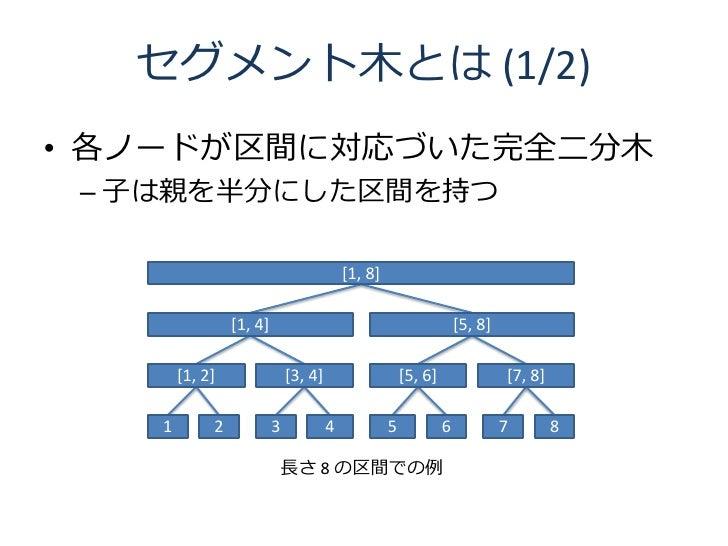 セグメント木とは (1/2) • 各ノードが区間に対応づいた完全二分木  – 子は親を半分にした区間を持つ                                             [1, 8]                  ...