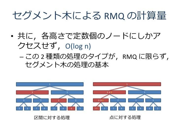 セグメント木による RMQ の計算量 • 共に,各高さで定数個のノードにしかア   クセスせず,O(log n)  – この 2 種類の処理のタイプが,RMQ に限らず,    セグメント木の処理の基本                     ...