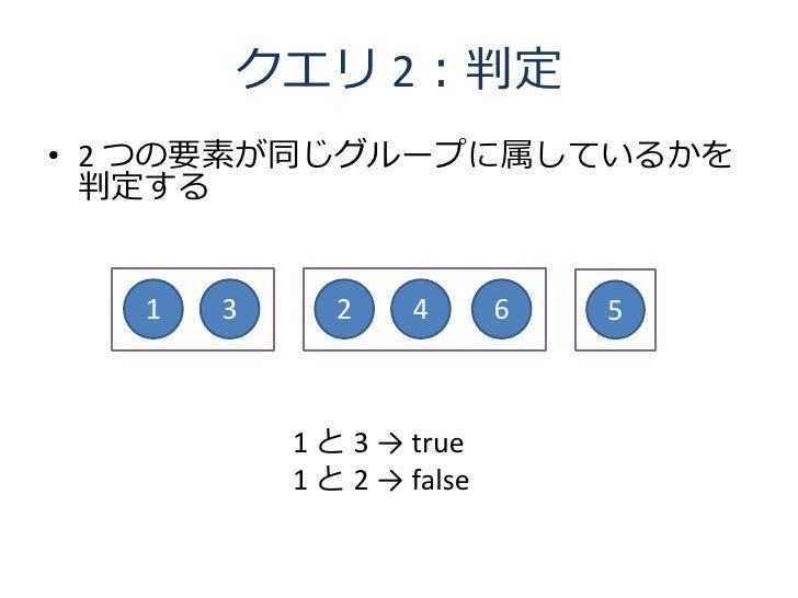 クエリ 2:判定 • 2 つの要素が同じグループに属しているかを   判定する      1   3      2    4       6   5               1 と 3 → true            1 と 2 → f...