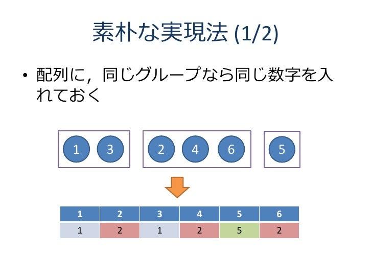 素朴な実現法 (1/2) • 配列に,同じグループなら同じ数字を入   れておく      1   3       2   4   6       5       1       2   3   4       5   6    1      ...