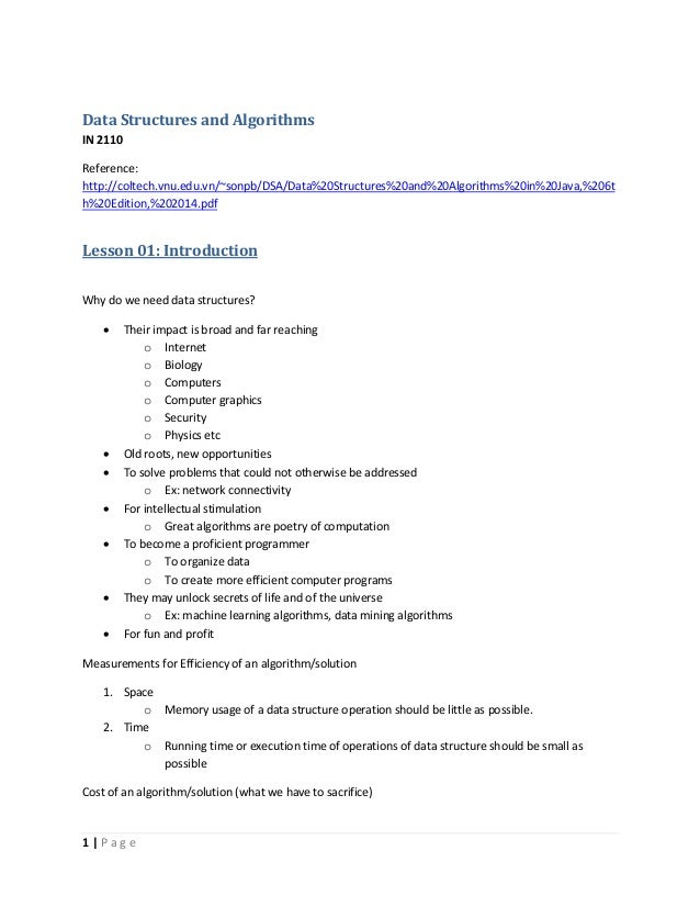 Data structures and algorithms short note (version 14) pd