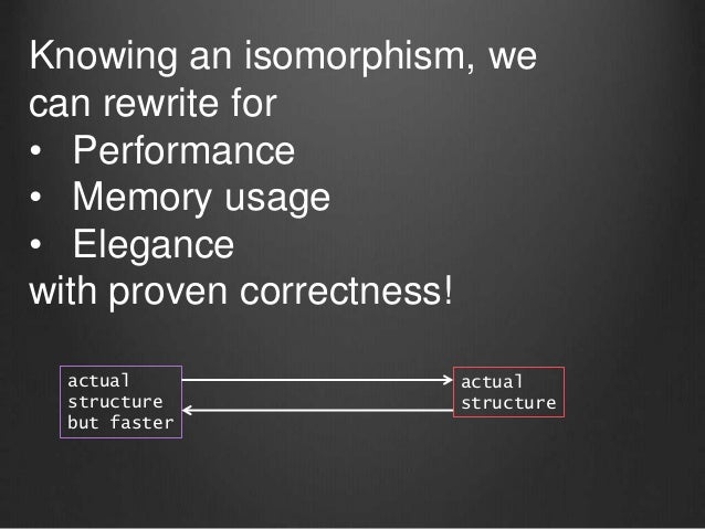 actual structure but faster actual structure Knowing an isomorphism, we can rewrite for • Performance • Memory usage • Ele...