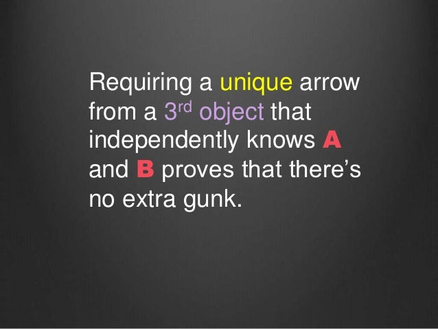 Requiring a unique arrow from a 3rd object that independently knows A and B proves that there's no extra gunk.