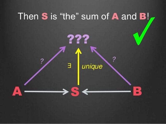 """SA B ??? ? ? unique∃ Then S is """"the"""" sum of A and B!"""