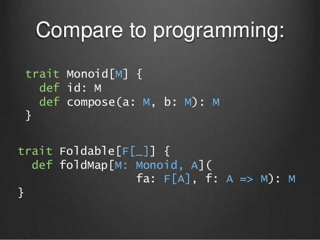 Compare to programming: trait Monoid[M] { def id: M def compose(a: M, b: M): M } trait Foldable[F[_]] { def foldMap[M: Mon...