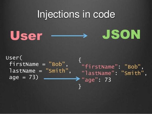 """Injections in code User( firstName = """"Bob"""", lastName = """"Smith"""", age = 73) User JSON { """"firstName"""": """"Bob"""", """"lastName"""": """"Smi..."""