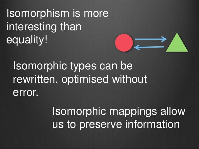 Isomorphism is more interesting than equality! Isomorphic types can be rewritten, optimised without error. Isomorphic mapp...