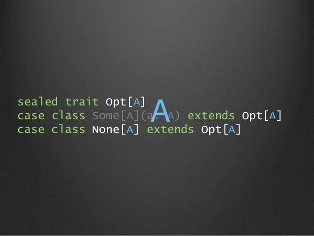 sealed trait Opt[A] case class Some[A](a: A) extends Opt[A] case class None[A] extends Opt[A] A