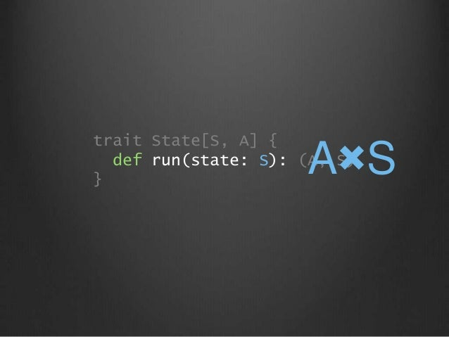 trait State[S, A] { def run(state: S): (A, S) } A×S