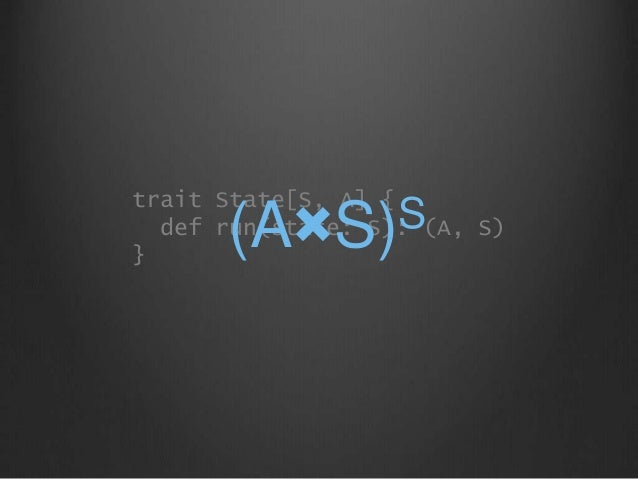 trait State[S, A] { def run(state: S): (A, S) } (A×S)S