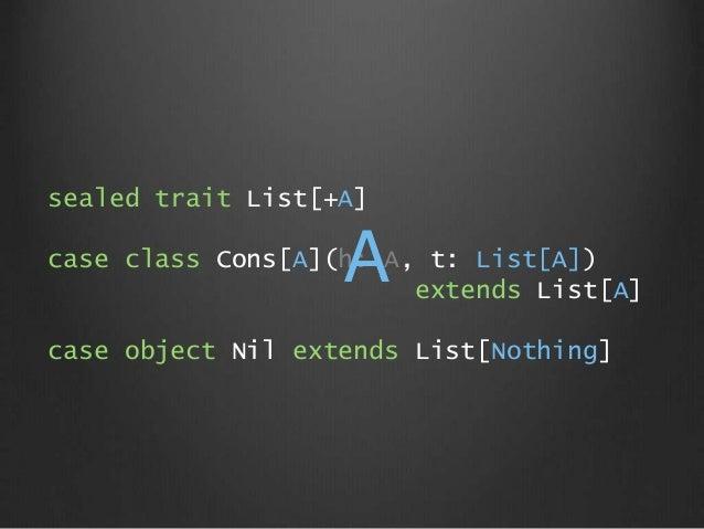 sealed trait List[+A] case class Cons[A](h: A, t: List[A]) extends List[A] case object Nil extends List[Nothing] A