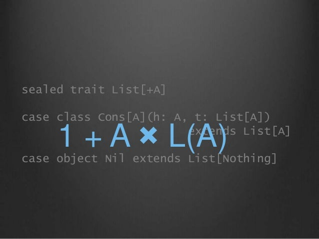 sealed trait List[+A] case class Cons[A](h: A, t: List[A]) extends List[A] case object Nil extends List[Nothing] 1 + A × L...