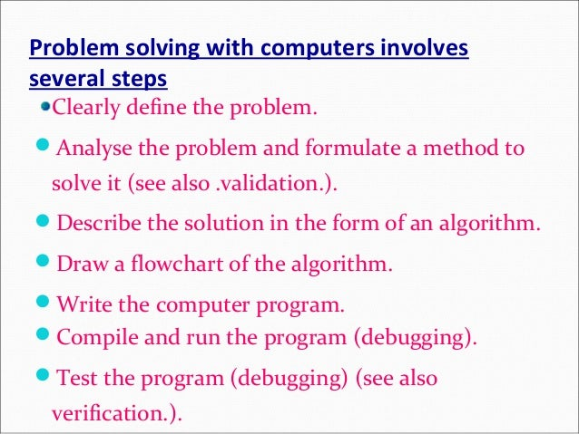 computer operations solving problem algorithm An algorithm is a step by step method of solving a problem it is commonly used for data processing, calculation and other related computer and mathematical operations.
