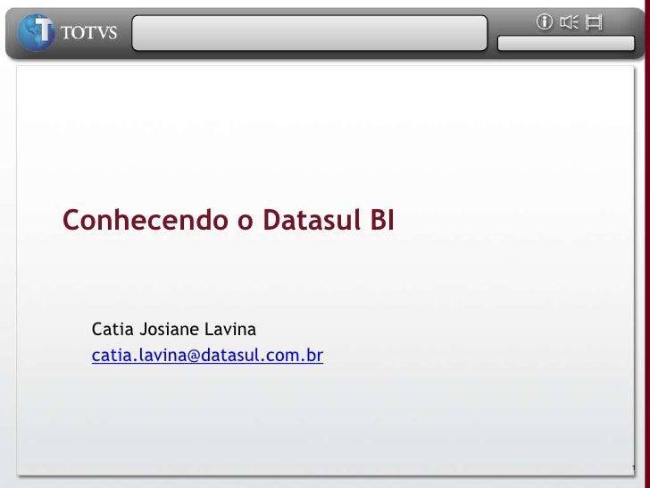 Conhecendo o Datasul BI     Catia Josiane Lavina   catia.lavina@datasul.com.br                                     1