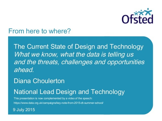 9 July 2015 From here to where? The Current State of Design and Technology What we know, what the data is telling us and t...