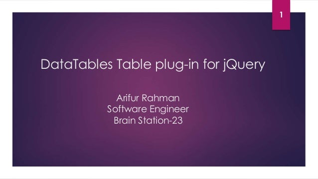Data tables table plug in for jquery