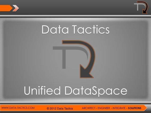 Data Tactics             Unified DataSpaceWWW.DATA–TACTICS.COM   © 2012 Data Tactics   ARCHITECT – ENGINEER – INTEGRATE – ...