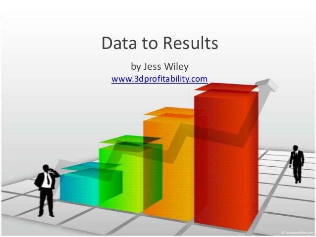 Data to Results by Jess Wiley www.3dprofitability.com