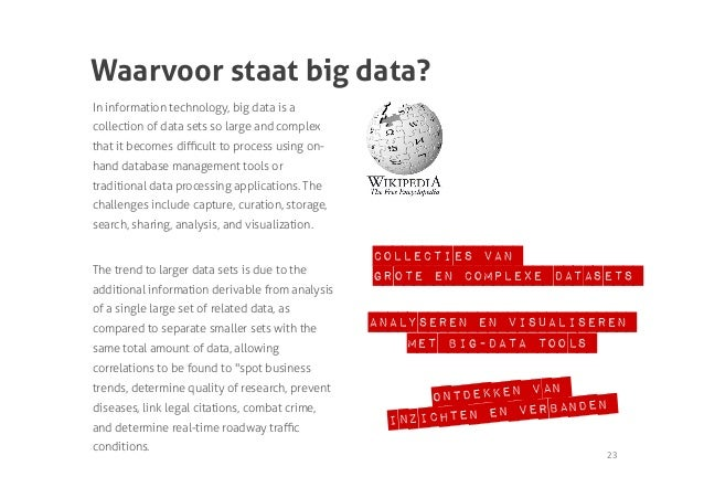 Waarvoor staat big data?In information technology, big data is acollection of data sets so large and complexthat it become...